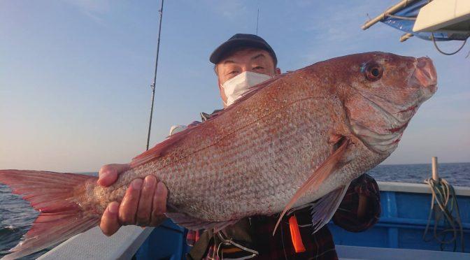午後テンヤ真鯛船 中鯛3.7キロ!